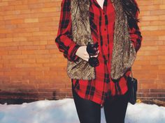 Street Casual: Flannel + Fur vest + Leather Leggings  By far the comfiest of the 3 outfits, we paired this with leather leggings, a plaid shirt and day time booties. We love the mixing of textures in this outfit. This is a perfect outfit to do anything from shopping, to hanging with friends.