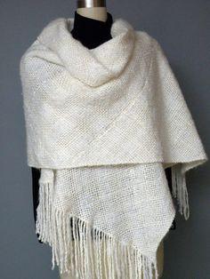 Handwoven Shawl, Stole, Women's Fashion Wrap, Ivory White, Wedding, Evening Wear, Winter, Spring, Summer, Fall. $125.00, via Etsy.