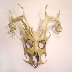 Stag Spirit Mask in Leather with Spiral Antlers by teonova on Etsy