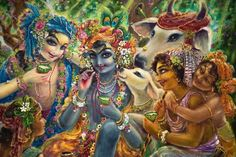 Krsna and Balarāma and the cow heard boys.