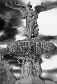 """#Angel in Central Park B Photography    I've always been awed by the Angel of the Waters, the #Bethesda angel in Central Park, NYC. The statue appeared in one of my favorite movies, """"Angels in America."""" I called the image """"Angel in Central Park."""" An older version of this image (no lensbaby photography) was part of several art shows, including my solo show, """"Backbone,"""" and Visual AIDS' """"Postcards from the Edge."""" This is my Black & White version of the image."""