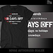 No Day's Off (black tee) | Sleep is 4 Suckers