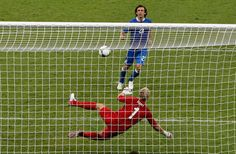 Italy's Andrea Pirlo scores past England goalkeeper Joe Hart in the penalty shootout of the Euro 2012 soccer championship quarterfinal match between England and Italy in Kiev, Ukraine on June Andrea Pirlo, Soccer Players, Football Soccer, Italy Soccer, Euro 2012, England, International Football, Latest Sports News, Journaling