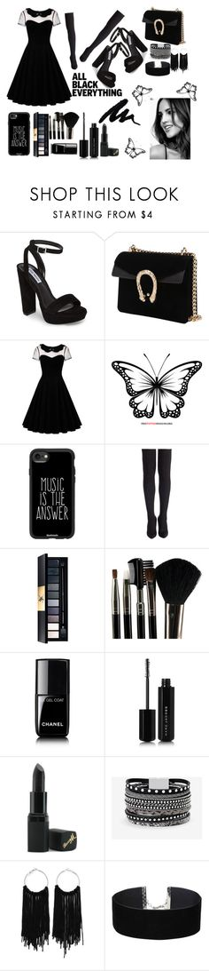 """""""All Black Everything"""" by turekpony ❤ liked on Polyvore featuring Steve Madden, Casetify, John Lewis, Glamour Status, Chanel, Marc Jacobs, Barry M, White House Black Market, Miss Selfridge and allblackoutfit"""