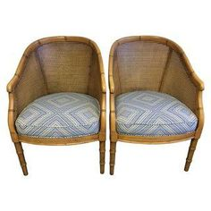 Vintage Cane & Faux Bamboo Chairs - A PairFosterginger.Pinterest.ComMore Pins Like This One At FOSTERGINGER @ PINTEREST No Pin Limitsでこのようなピンがいっぱいになるピンの限界