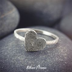Fingerprint on heart ring by Silver Promo