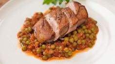 Roasted Duck Breast with Tomato Braised Peas