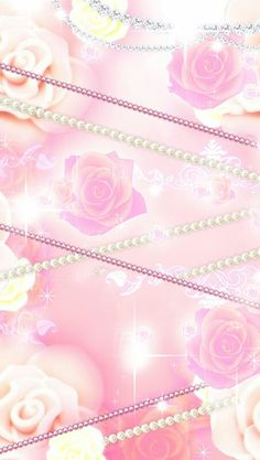 Pretty rose and jewel wallpaper