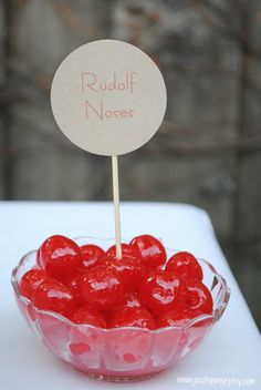 Christmas Family Movie Night- Rudolf the Rednose Reindeer: Make a Root-Deer Float bar, here are the Rudolph nose cherries.