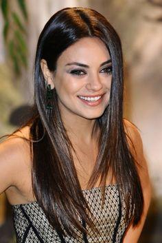 long Black straight Mila Kunis Womens poker-straight Celebrity hairstyles for women
