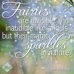Fairies are invisible and inaudible like angles but their magic sparkles in nature - Lynn Holland