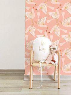 Papier peint Oiseaux rose - Zina Lahrichi x émoi émoi EMOI EMOI - Photo