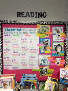 Character traits board/ love the book covers with the words beside them...