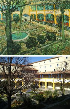 "The former Arles hospital, now named ""Espace Van Gogh,"" in France is the subject of 2 paintings van Gogh made. He stayed there in Dec 1888 & in Jan 1889. One of the paintings is of the central garden between 4 buildings titled Garden of the Hospital in Arles (also known as the Courtyard of the Hospital at Arles)"