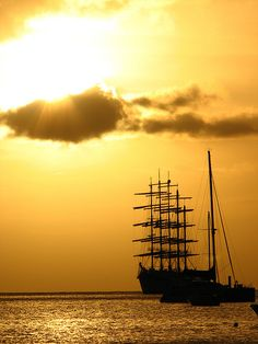 Tall Ship Sailing into the sunset