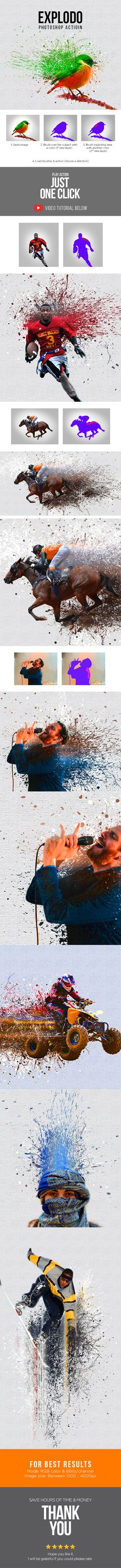 Explodo Photoshop Action #sketch #splatter • Download ➝ https://graphicriver.net/item/explodo-photoshop-action/18577576?ref=pxcr