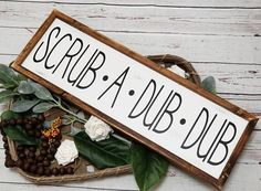 Bathroom sign Scrub a dub dub sign Wood Bathroom sign - 3 sizes - your choice of colors - mitered frame #lovinwoodsigns