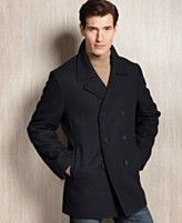 Browse here for a business casual or professional coat.   Calvin Klein Coat, Wool-Blend Peacoat