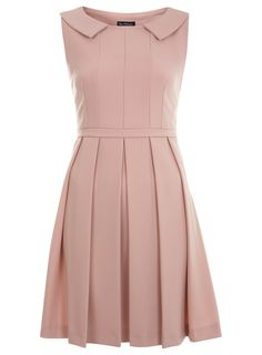 Nude Collar Detail Skater Dress-miss selfridge