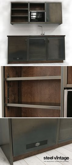 Discover the Workshop Kitchen Range by Steel Vintage. Kitchen Units, Kitchen Appliances, Vintage Kitchen Cabinets, Solid Doors, Open Face, Bespoke Kitchens, Wall Units, Cupboard Doors, Wood Colors