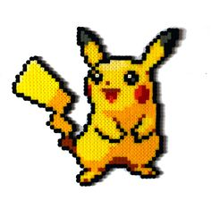 Pikachu Pokemon perler bead sprite by AenysBeadArt on Etsy