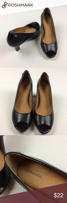 G.H. Bass & Co Alexandria black open toe heels Preowned but look like they have never been worn. Crease on top of left shoe that smooths out when worn. Man made materials. Size 7. I normally wear a 7-7 1/2 and there are a bit snug. So if you typically wear a 7 these should be good. Please ask all questions prior to purchasing. (No box) Bass Shoes Heels