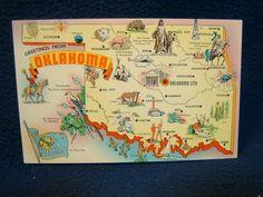 vintage state map postcards   Buy Postcards - Oklahoma State Map postcard # 54650 - bidStart (item ...