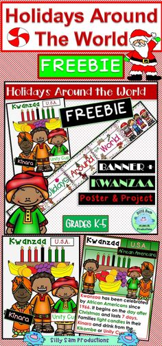 FREE! HOLIDAYS AROUND THE WORLD BANNER plus KWANZAA Posters and PROJECT! This is a Freebie Sample from the HAW Posters Set at Silly Sam Productions. Also goes with HAW KEEPSAKE BOOK and HAW ORNAMENT Projects 15 Countries - Holiday Traditions!