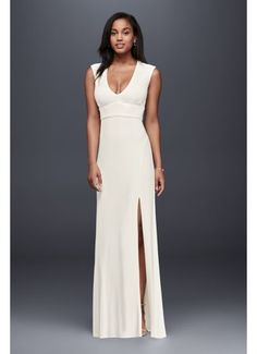 Searching for a simple, casual wedding dress? David's Bridal offers simple, elegant wedding gowns in lace, beach styles, short & other simple dress looks! Elegant Wedding Dress, Casual Wedding, Bridal Wedding Dresses, Bridesmaid Dresses, Wedding Wows, Gypsy Wedding, Bridesmaids, Davids Bridal Gowns, Special Occasion Dresses