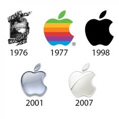 "Apple's ""rainbow apple"" left a strong impression in 1977, but the company took a more simplified approach for a white, 3D logo in 2007."