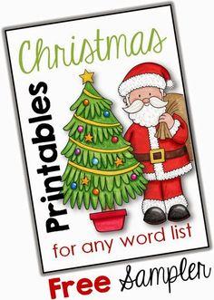 Christmas Printables for any Word List freebie