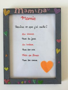 Fête des grand-mères : un cadre pour Mamie ! French Poems, French Lessons, Parfait, Holi, Fathers Day, Girly, Messages, Birthday, Kids