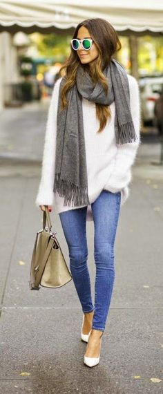Great fall outfit. Simple colors, but that cashmere sweater and scarf are gorgeous!