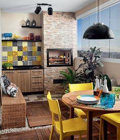 Linda decoração para varandas pequenas. Espaço Gourmet.