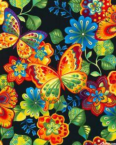 Rainbow Garden - Butterfly Haven - Black