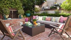 Refresh your outdoor room on the fly with these 10-minute decorating ideas. Shop Smart, Outdoor Glider, Outdoor Sofa, Outdoor Seating, Small Patio Furniture, Furniture Ideas, Outdoor Furniture Sets, Royal Furniture, Luxury Furniture