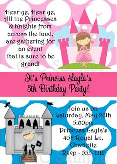 Princess Knight Invitations Printable Birthday Party Invites