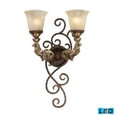 "Check out the Elk Lighting 2155-2-LED Regency 13""H 2 Light LED Wall Sconce in Burnt Bronze"