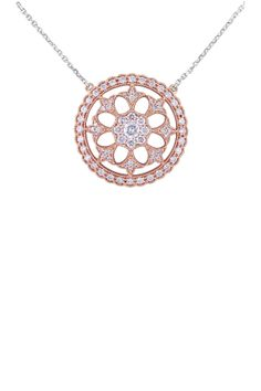 14K White & Rose Gold Diamond Filigree Pendant Necklace - 1.00 ctw