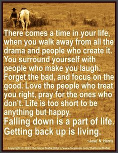 There comes a time in your life, when you walk away from all the drama and people who create it. You surround yourself with people who make you laugh. Forget the bad, and focus on the good. Love the people who treat you right, pray for the ones who don't. Life is too short to be anything but happy.  Falling down is a part of life. Getting back up is living. ~--Jose' N. Harris--~  Thanks to The Horse Mafia for this awesome post!