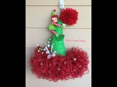 Handmade Christmas Crafts (Handmade Holiday Crafts) - My Cute Christmas Grinch Christmas Decorations, Christmas Mesh Wreaths, Christmas Hat, Deco Mesh Wreaths, Door Wreaths, Ribbon Wreaths, Yarn Wreaths, Winter Wreaths, Floral Wreaths