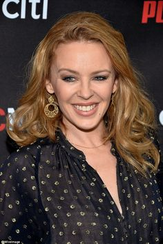 Going with the flow! The Spinning Around singer wore her golden hair styled in large, tousled curls Australian People, Golden Hair, Kylie Minogue, Stella Mccartney, Curls, Actresses, February 2015, Aphrodite, Hair Styles