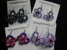 Tatted purple magenta beaded butterfly earrings by TattingByWendy, $13.00