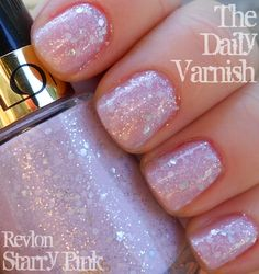 Revlon Starry Pink- Revlon is one of the top cosmetics brands offering lavish cosmetics. Here, this article gives the best Revlon nail polish shades that one can try. Pink Sparkle Nails, Sparkle Nail Polish, Revlon Nail Polish, Glitter Nail Polish, Nail Polish Colors, Pink Nails, Nail Polishes, Pink Polish, Pink Glitter