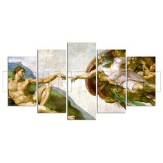 The Creation Of Adam Michelangelo Fresco Painting Canvas Print