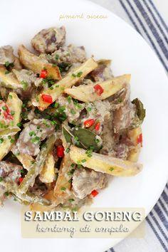 Sambal goreng kentang ati ampela - Abats de volaille à l'indonésienne - Chicken offals in a spicy sauce