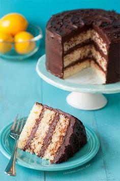 Lemon Layer Cake with Chocolate Fudge Frosting.<3
