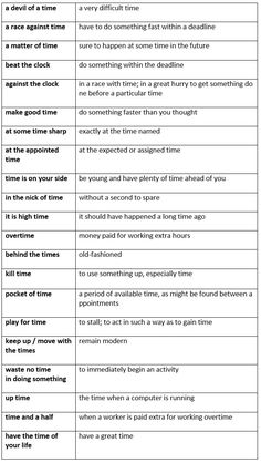 English idioms about time - learn English,idioms,english