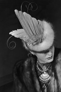 Feathered Fur Hat - 1939 - Hat by Mr. John - @Mlle #millinery #judithm #hats
