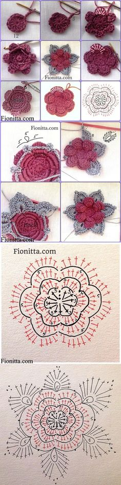 crochet tutorial These Crochet Flowers are pretty as a picture and perfect for adding to hats, brooches, hair clips, bags and so much more! Appliques Au Crochet, Crochet Motifs, Crochet Flower Patterns, Crochet Diagram, Crochet Chart, Crochet Squares, Crochet Granny, Crochet Designs, Crochet Stitches